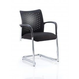 Academy Cantilever Black Back With Black Fabric Seat With Arms
