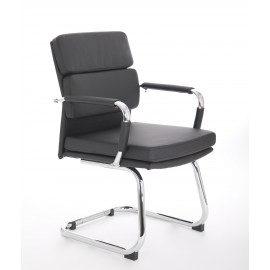 Advocate Visitor Chair Black Bonded Leather With Arms